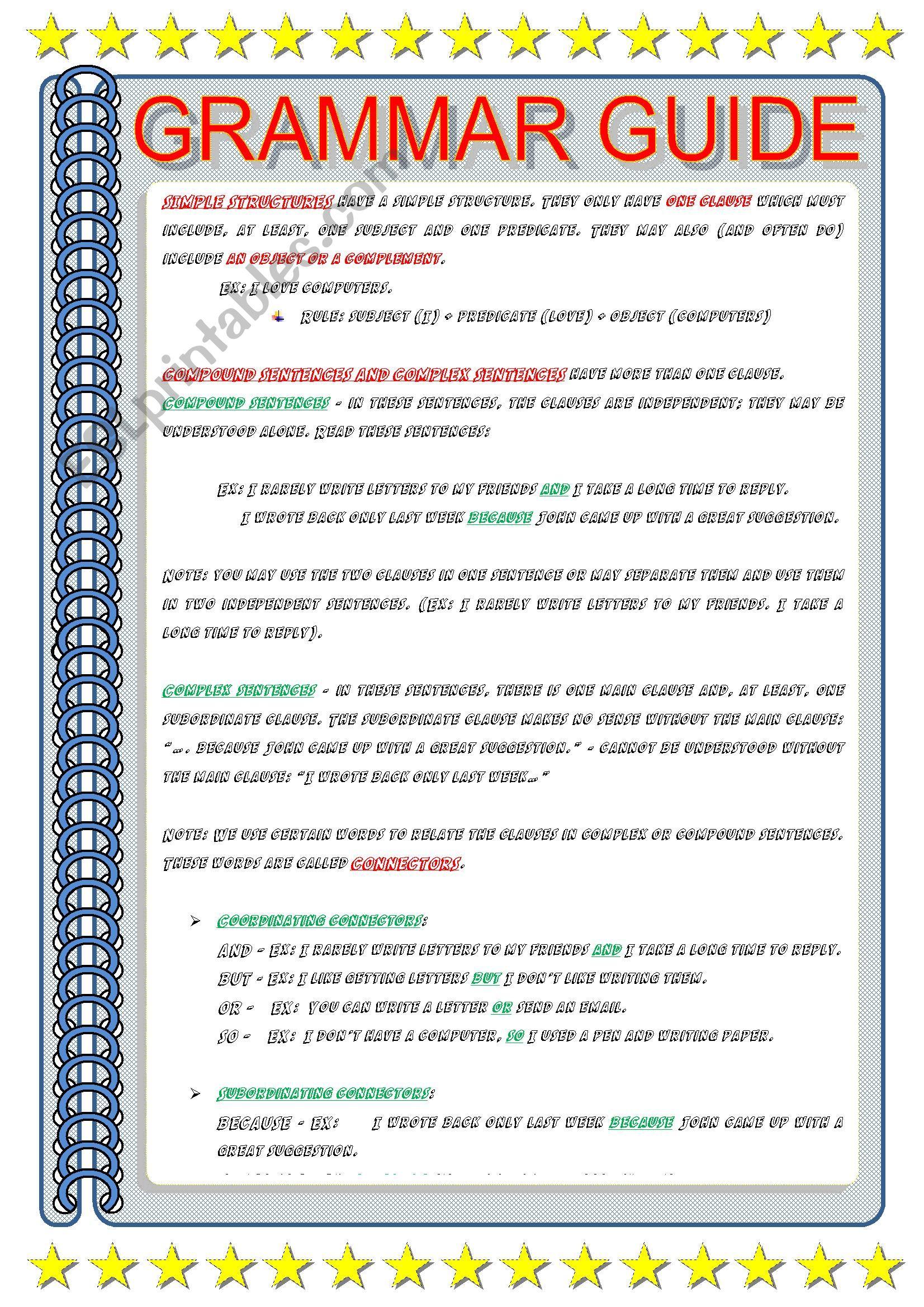 GRAMMAR GUIDE - LINKERS - ESL worksheet by ascincoquinas