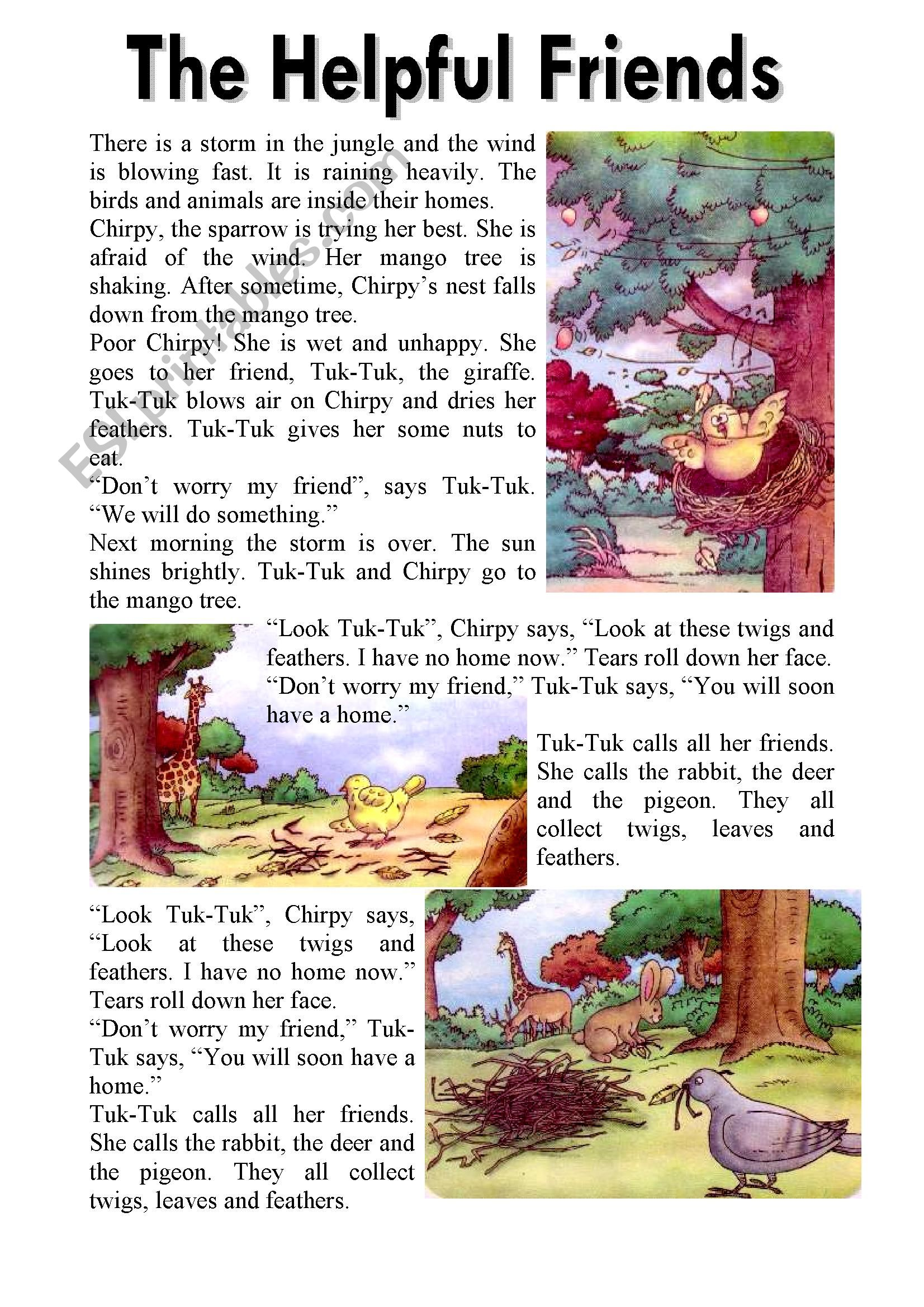 The Helpful Friends – Reading Comprehension (3 Pages-Editable with Key)