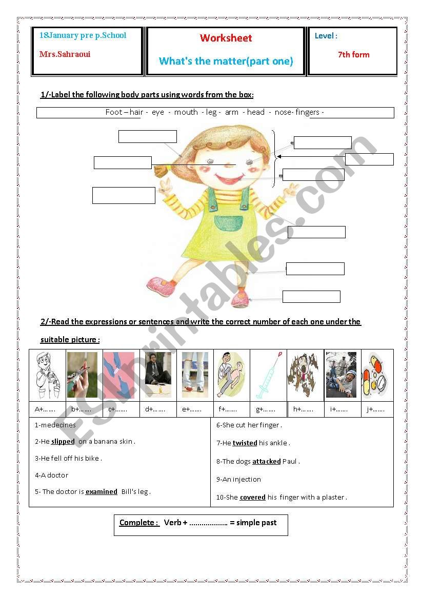 what´s the matter? worksheet
