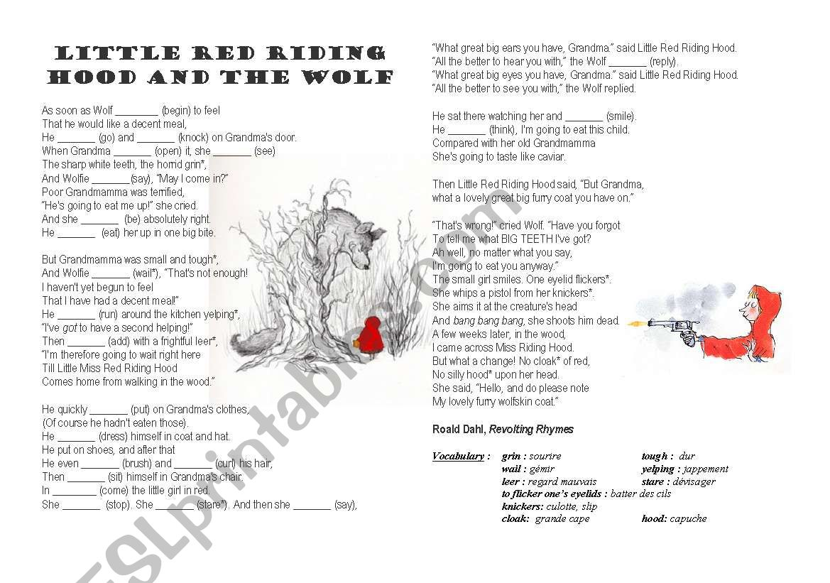 Little Red Riding Hood By Roald Dahl Esl Worksheet By Kpmc