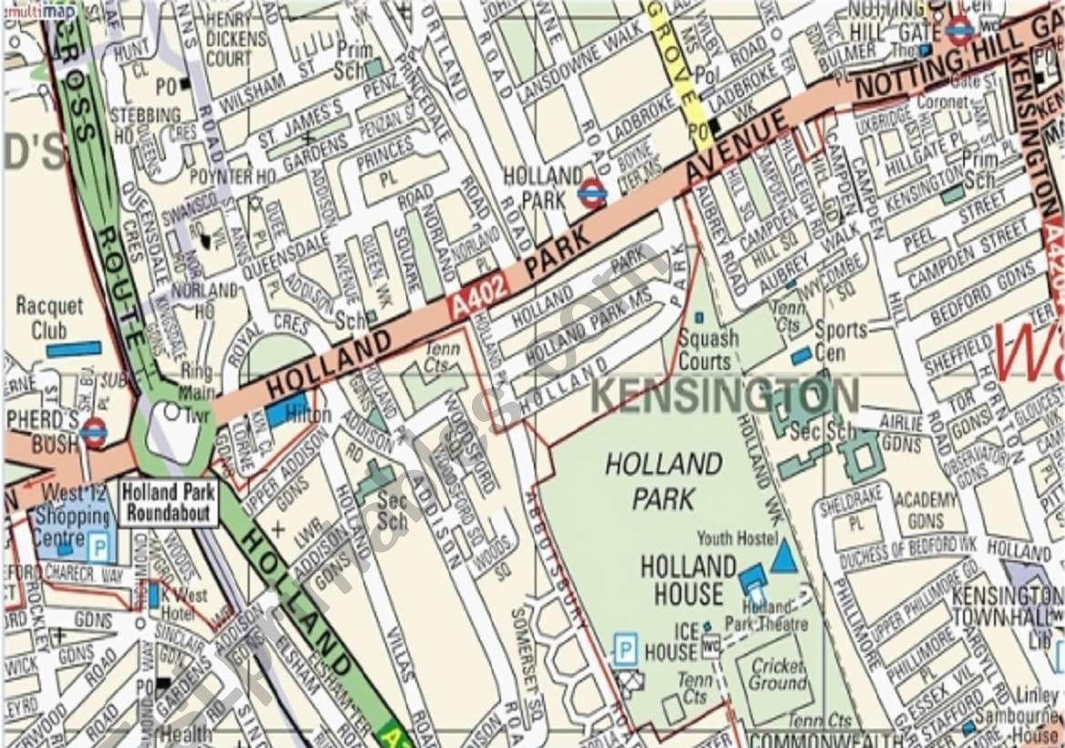 London Map Directions.Directions Make Your Way Through A Real London Map Esl Worksheet