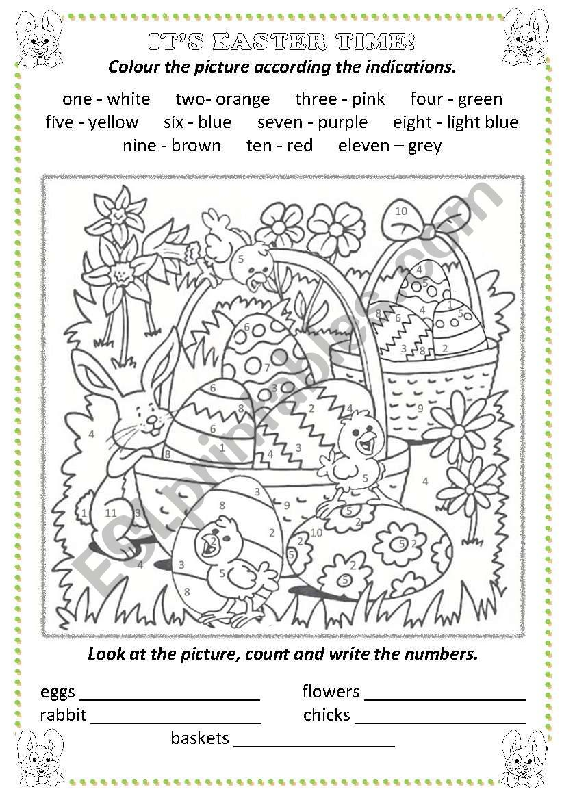 Easter: colour by numbers worksheet