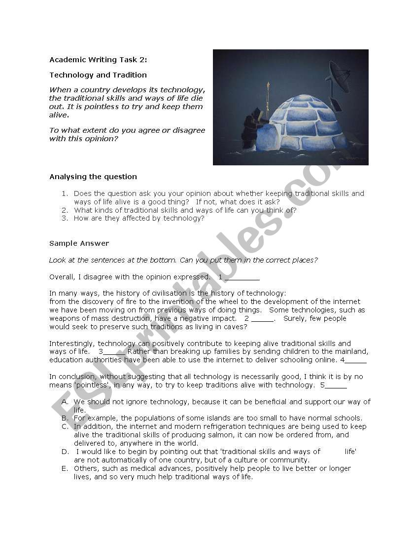 IELTS Academic Writing task 2 Technology and Tradition