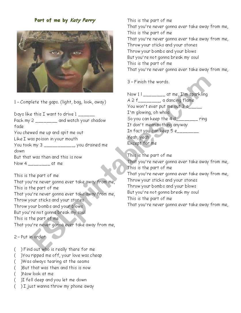 Part of me - Katy Perry worksheet