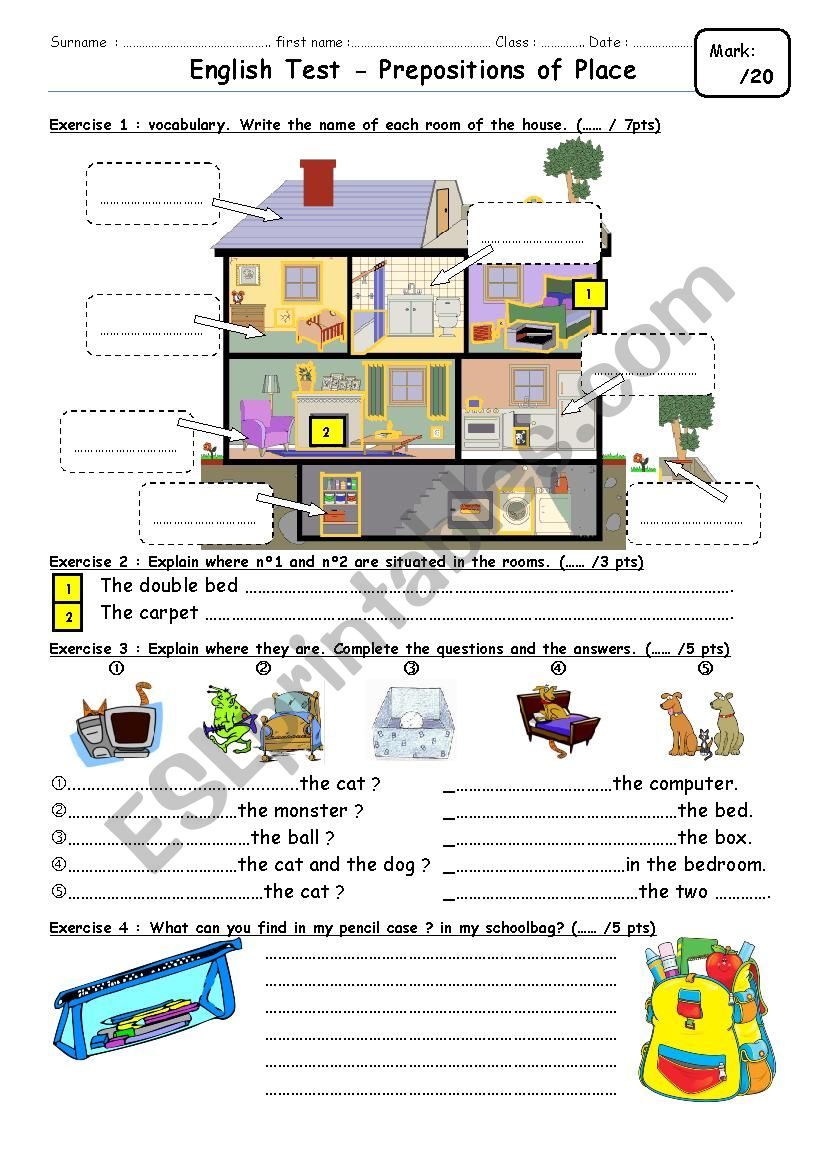 Preposition In Learn In Marathi All Complate: Test On Prepositions & House Parts