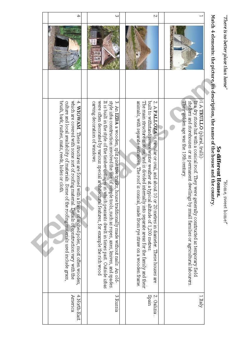 Different Homes worksheet