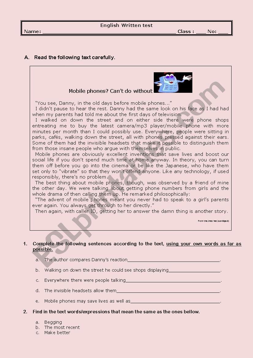 test -  mobile phones worksheet