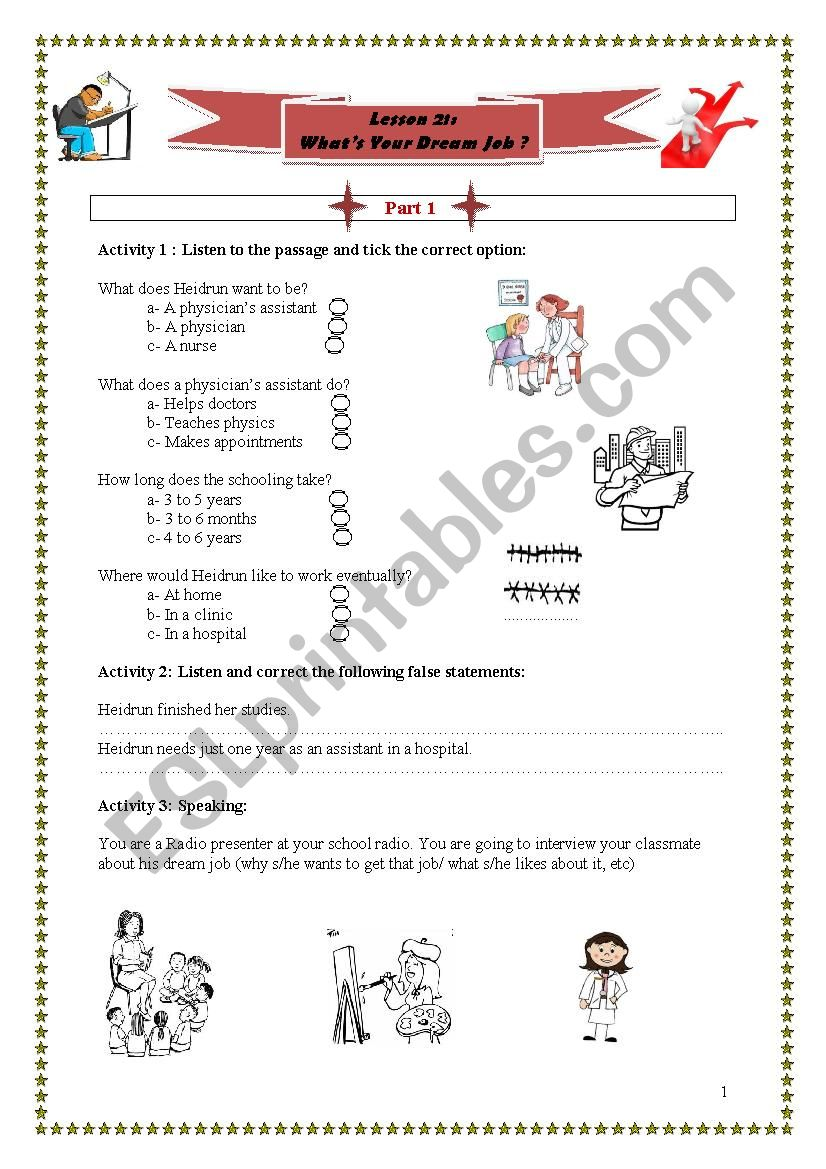 What´s your dream job? worksheet