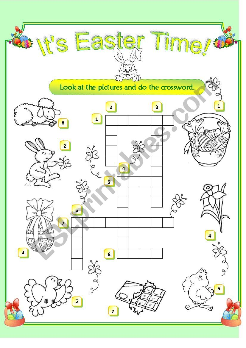 Easter crossword worksheet
