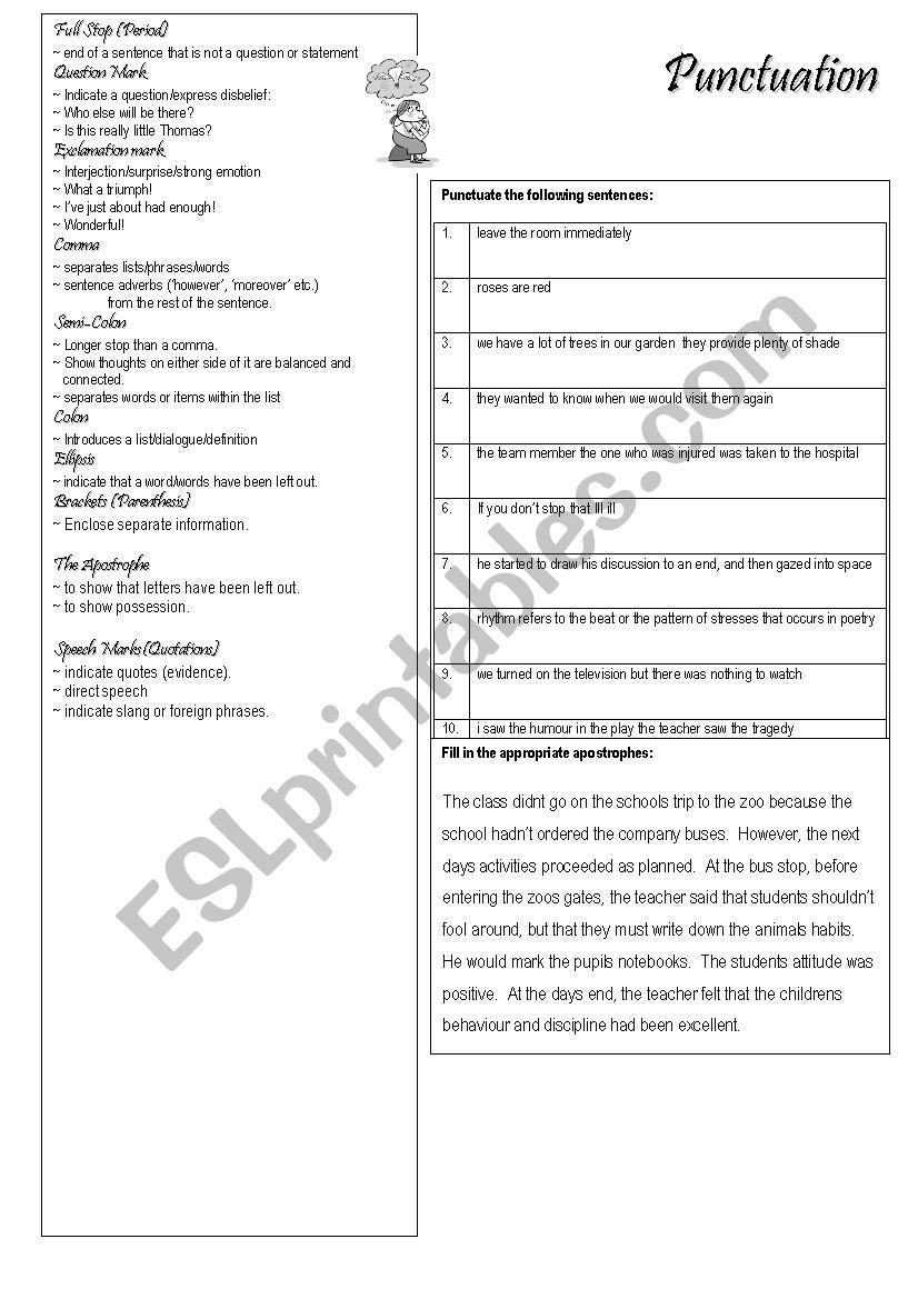 punctuation for advanced students esl worksheet by kirebatt. Black Bedroom Furniture Sets. Home Design Ideas