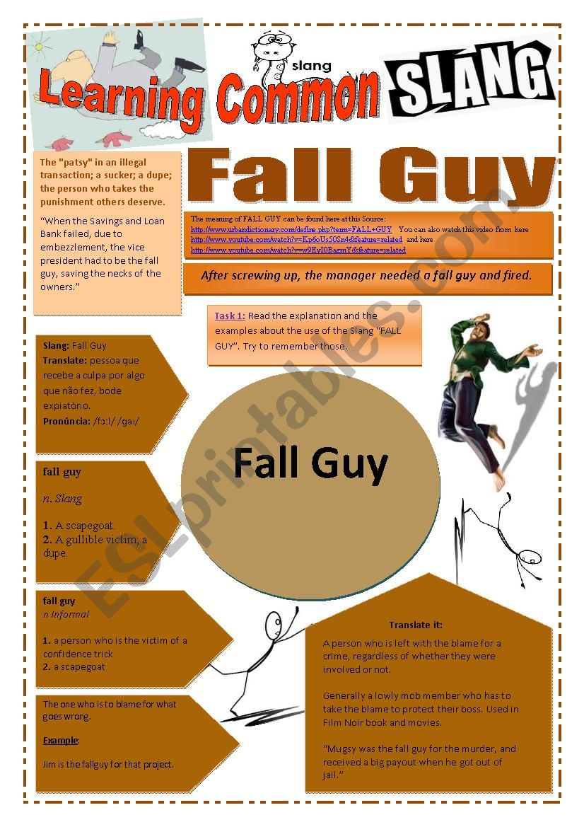SLANG - Learning Common Slang (Part 1 of 2) - FALL GUY (5 pages) -VIDEO LINK - A complete worksheet with many exercises and instructions