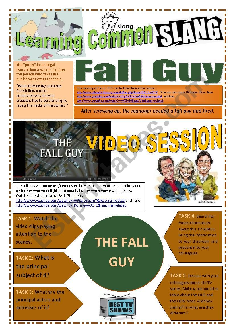 SLANG - Learning Common Slang (Part 2 of 2) - FALL GUY (5 pages) -VIDEO LINK - A complete worksheet with many exercises and instructions