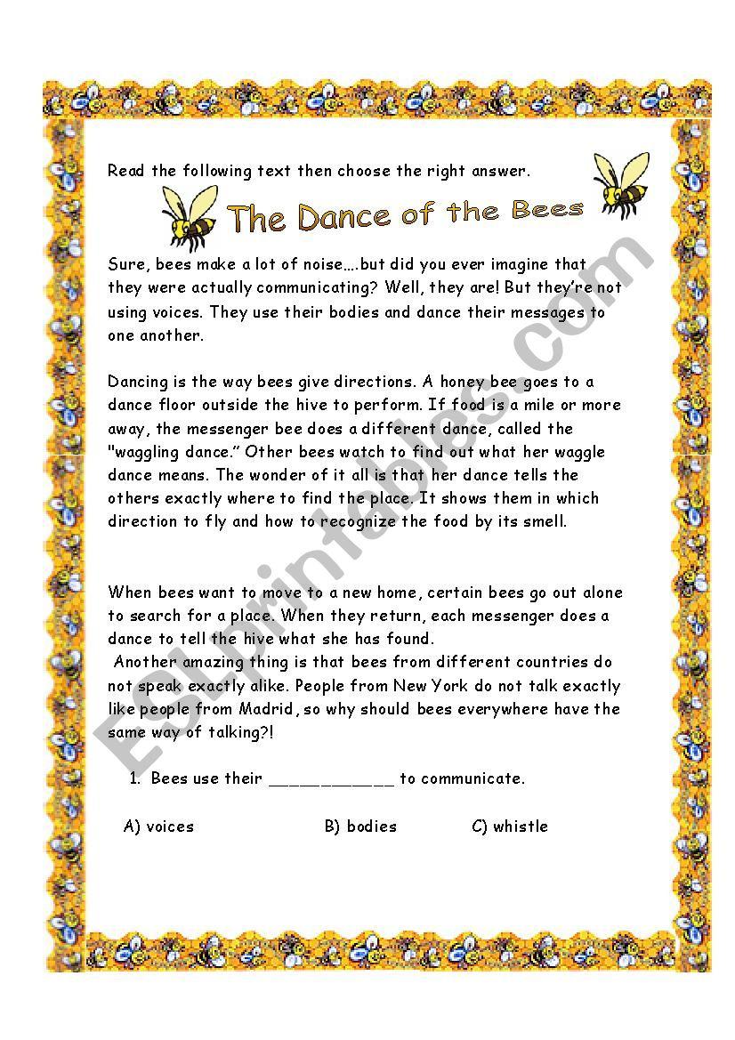 Bees Dance worksheet