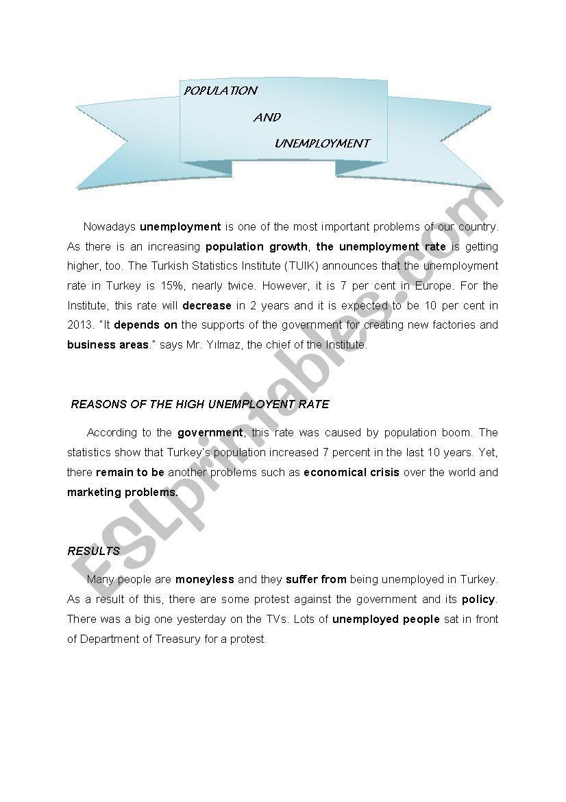 Unemployment worksheet