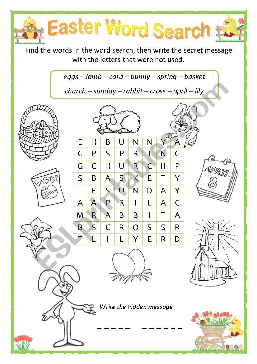Easter word search worksheet