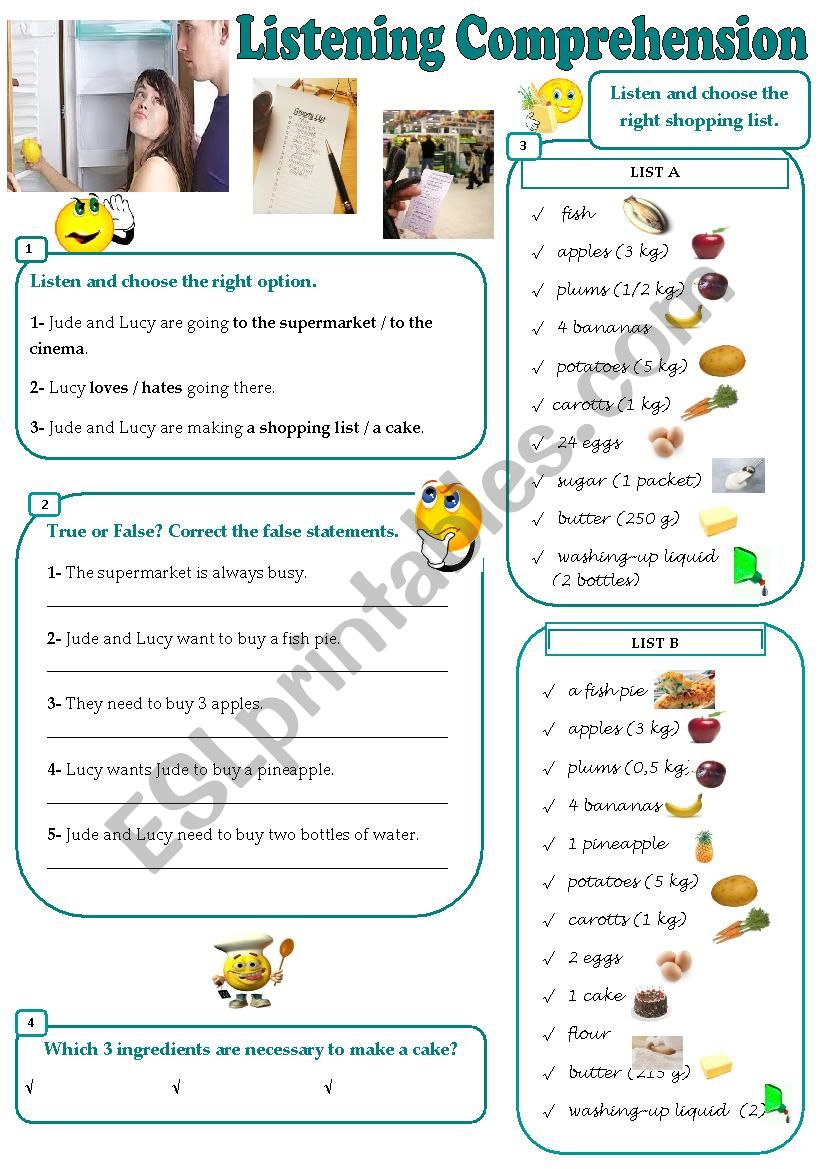 making a shopping list listening comprehension