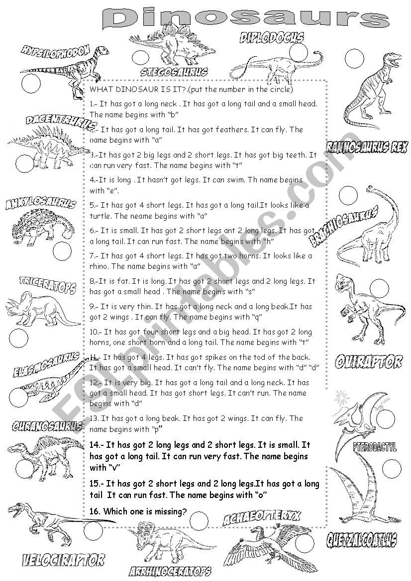 DINOSAURS worksheet