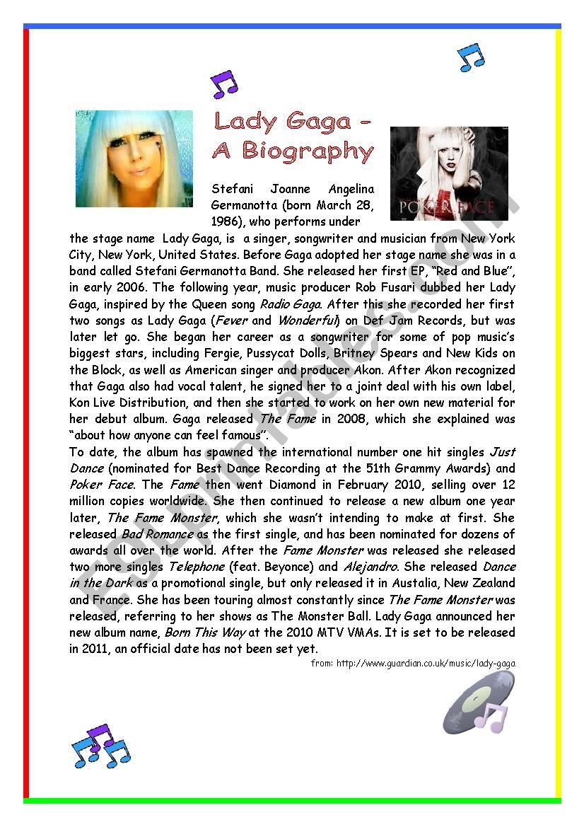 Lady Gaga - A Biography worksheet
