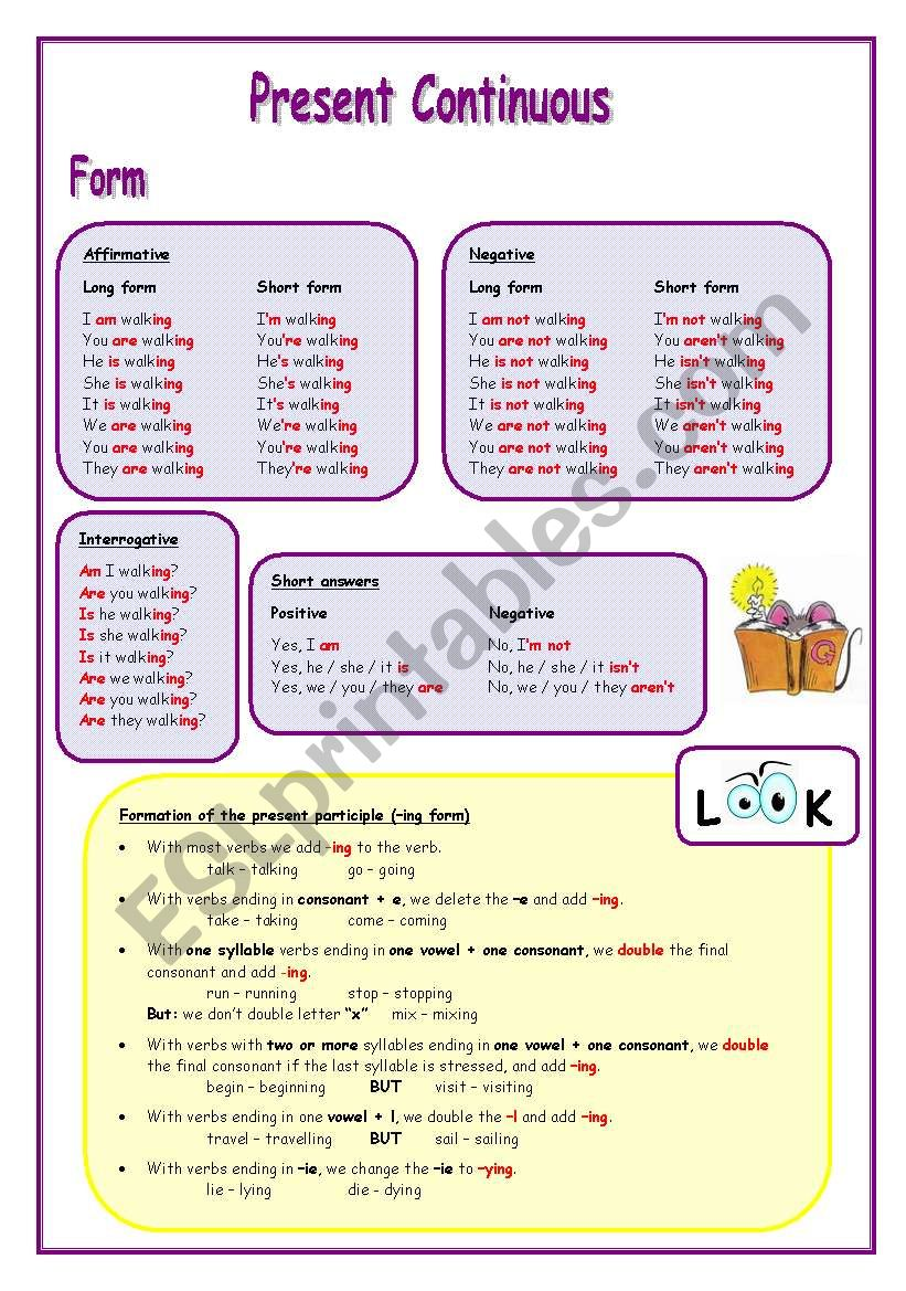 Present Continuous Tense (1) worksheet
