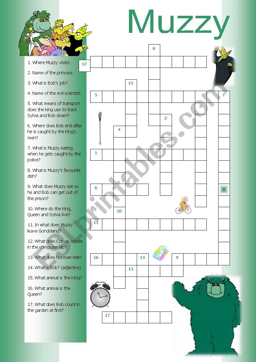 Muzzy Crossword worksheet