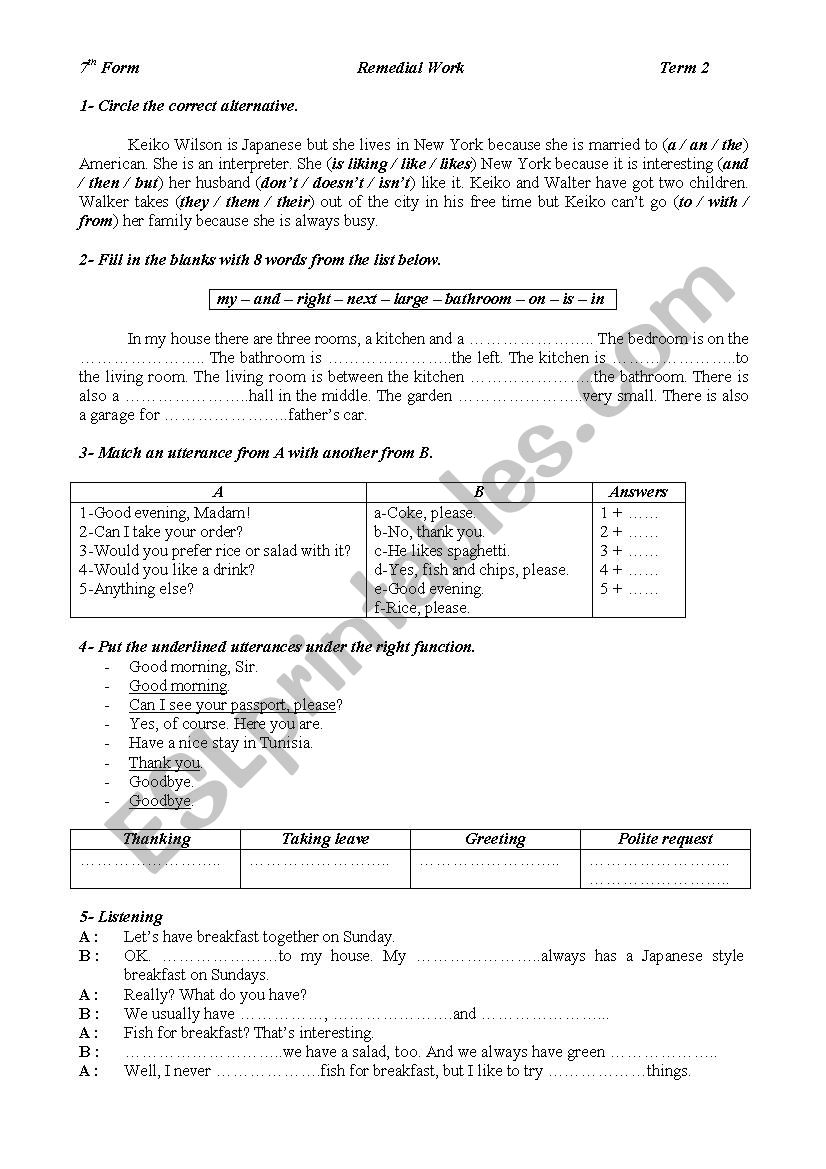 Remedial Work worksheet
