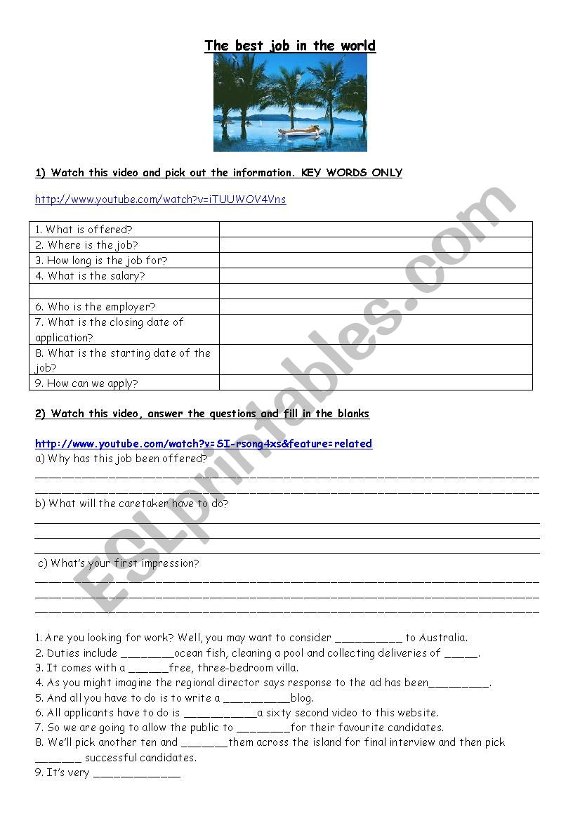 The best job in the world worksheet