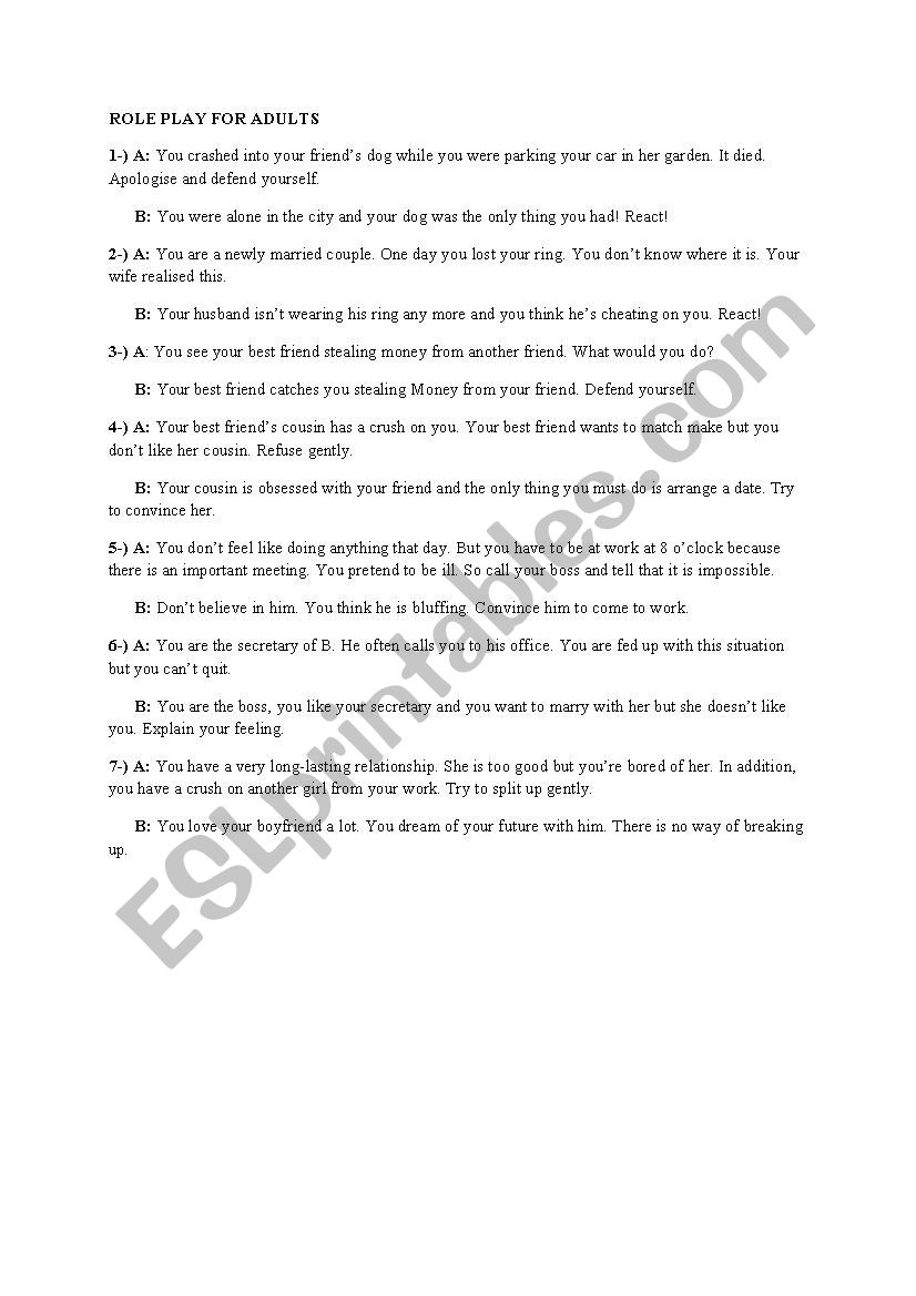Role Play for Adults worksheet