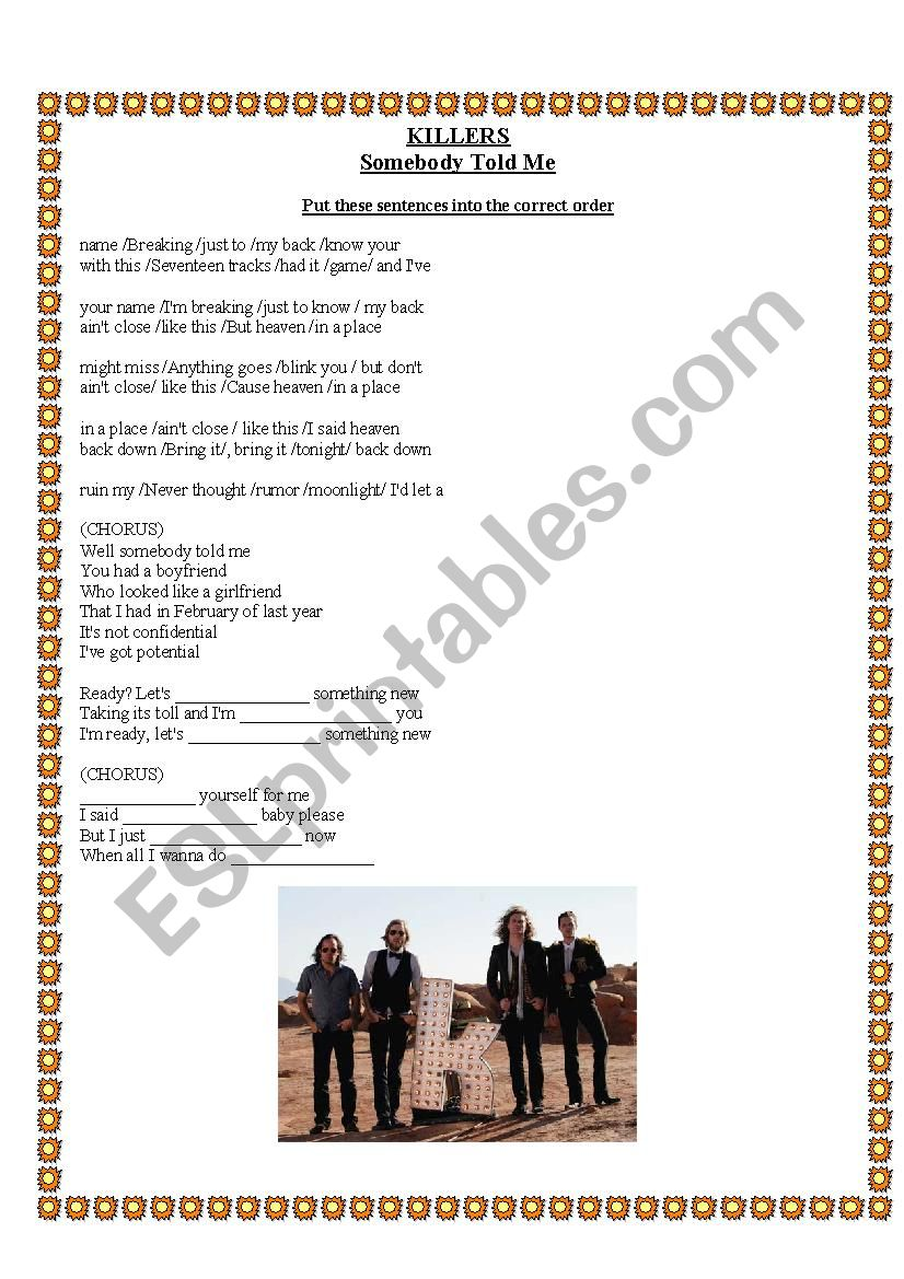 Reported speech - Somebody told me song - ESL worksheet by janaline