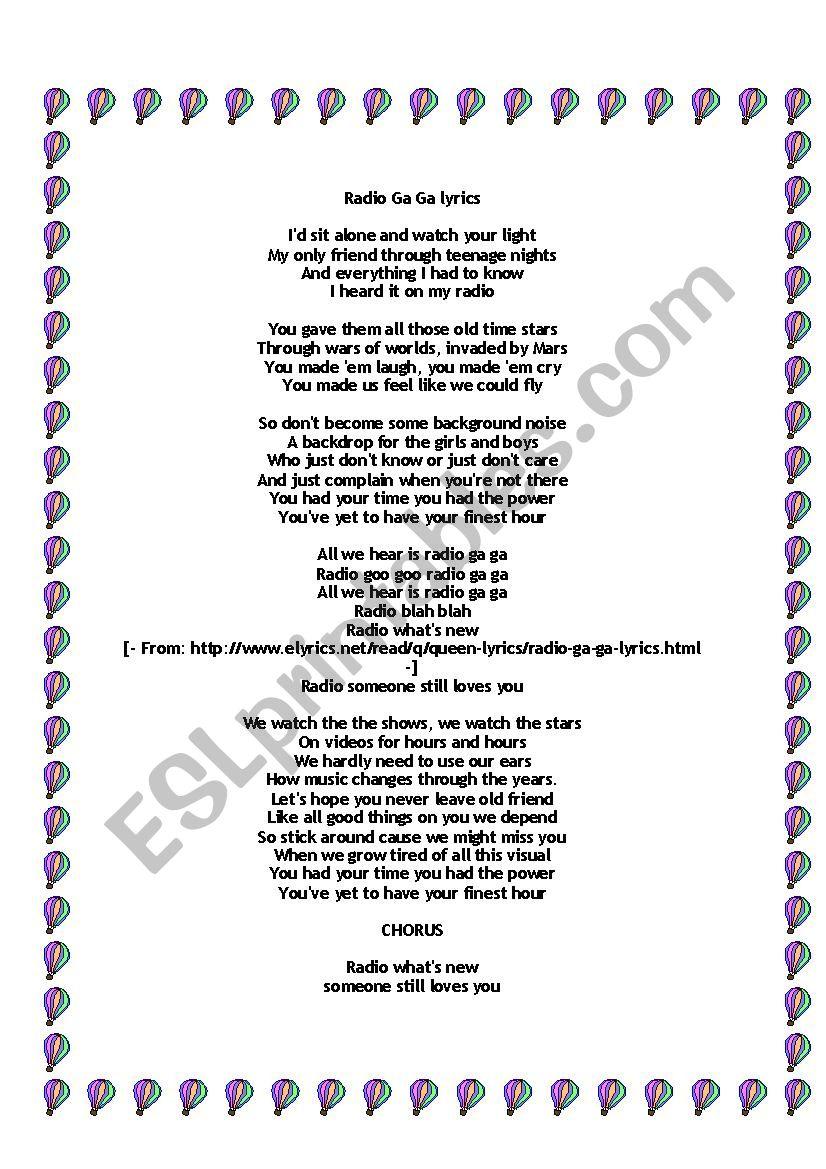 Verbs - Radio GaGa song - ESL worksheet by janaline