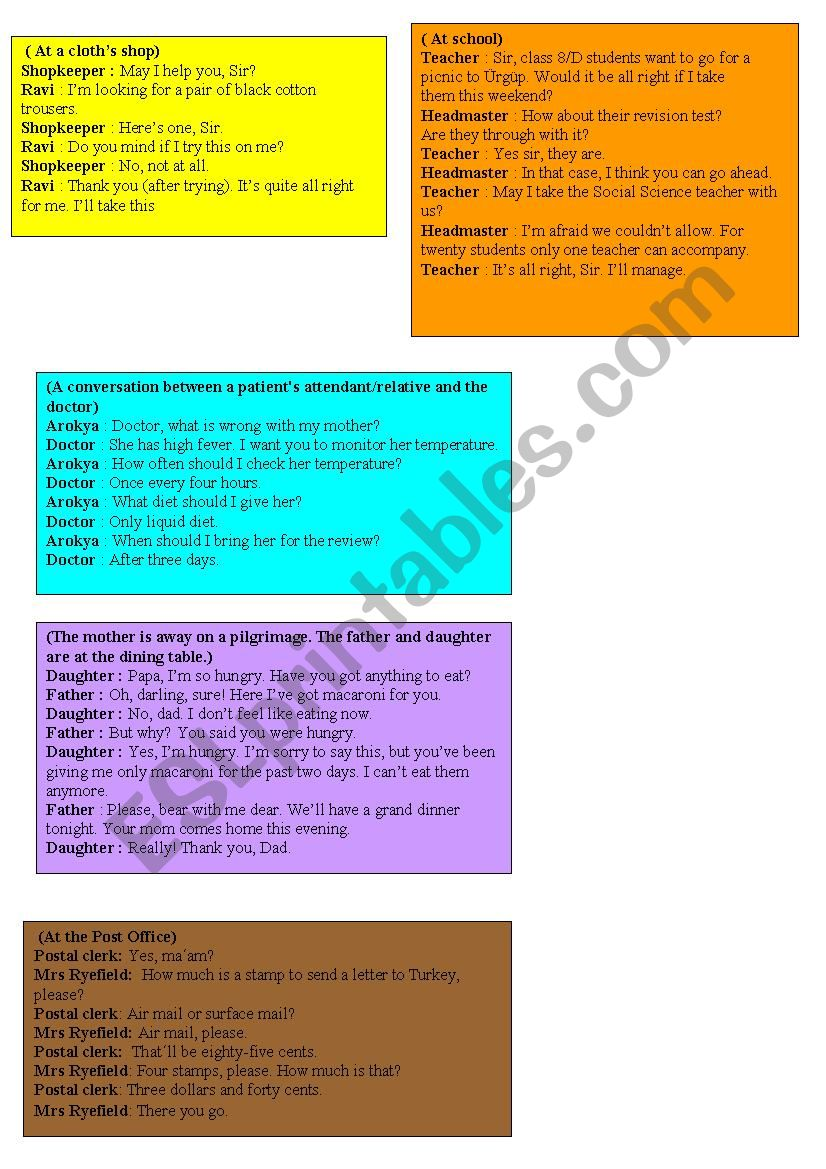 daily-life role play cards worksheet