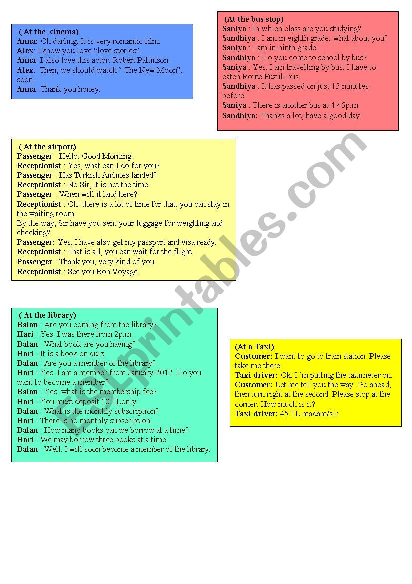 daily-life role play cards2 worksheet