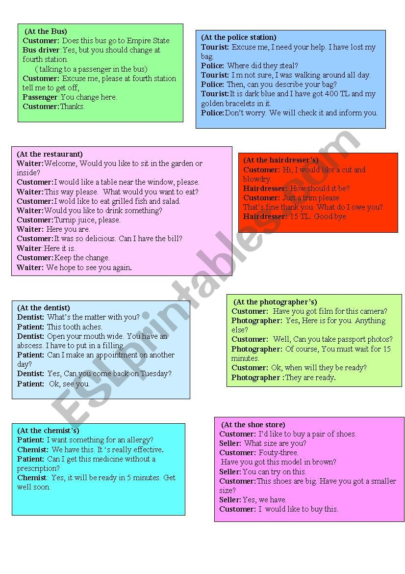 daily-life role play cards3 worksheet