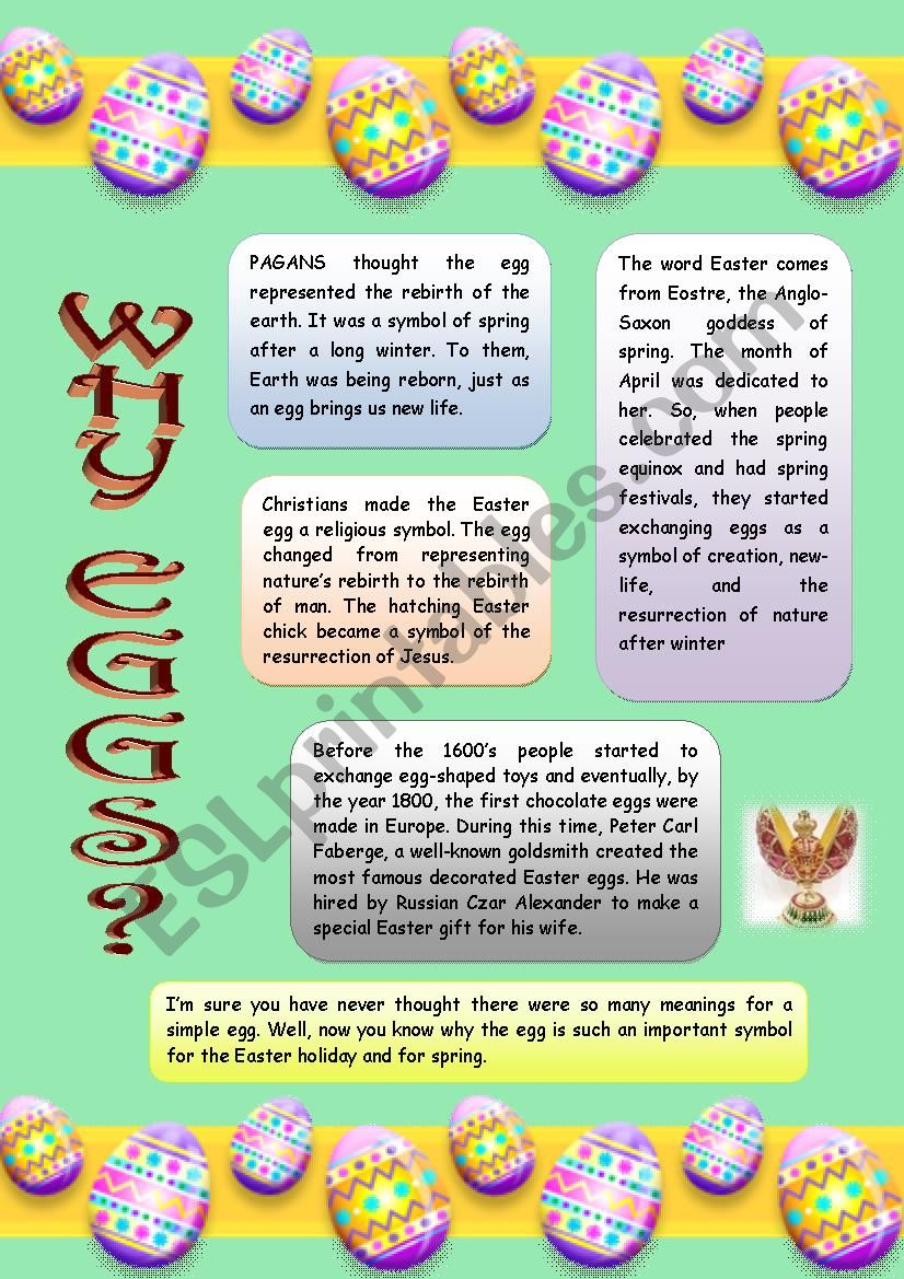 Why Eggs? worksheet