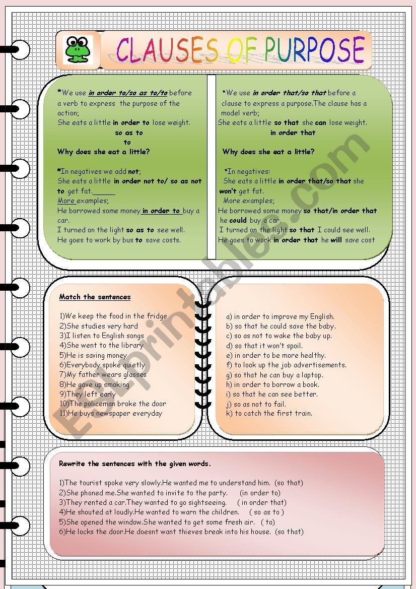 Clauses of purpose worksheet