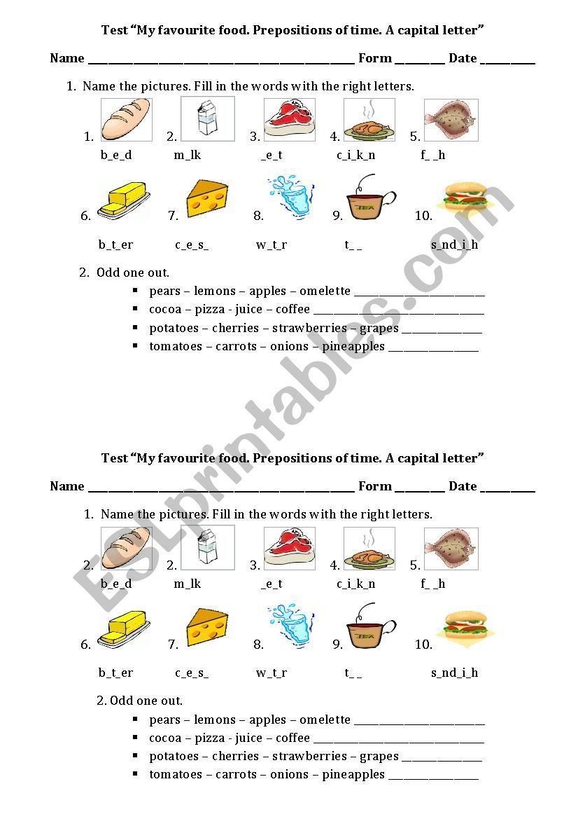 Food. Preposition of time. A capital letter