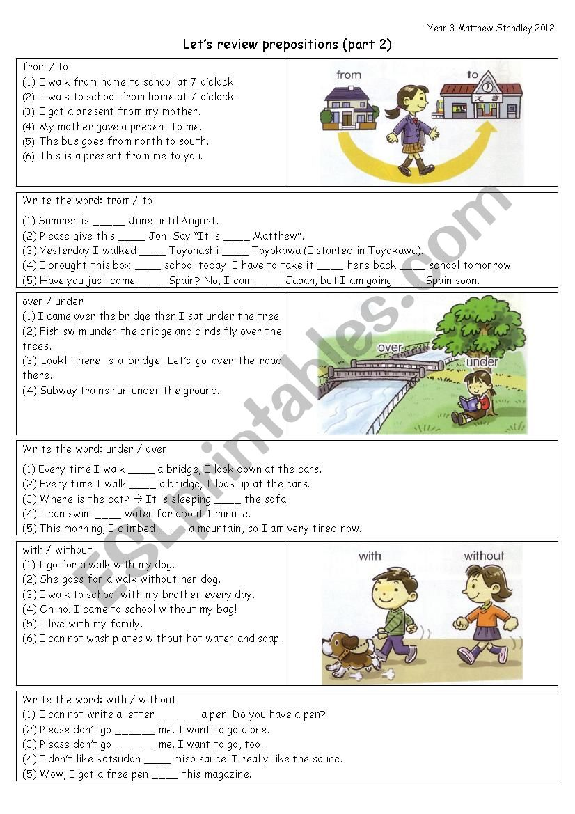 PREPOSITIONS review: from to / over under / with without / on off