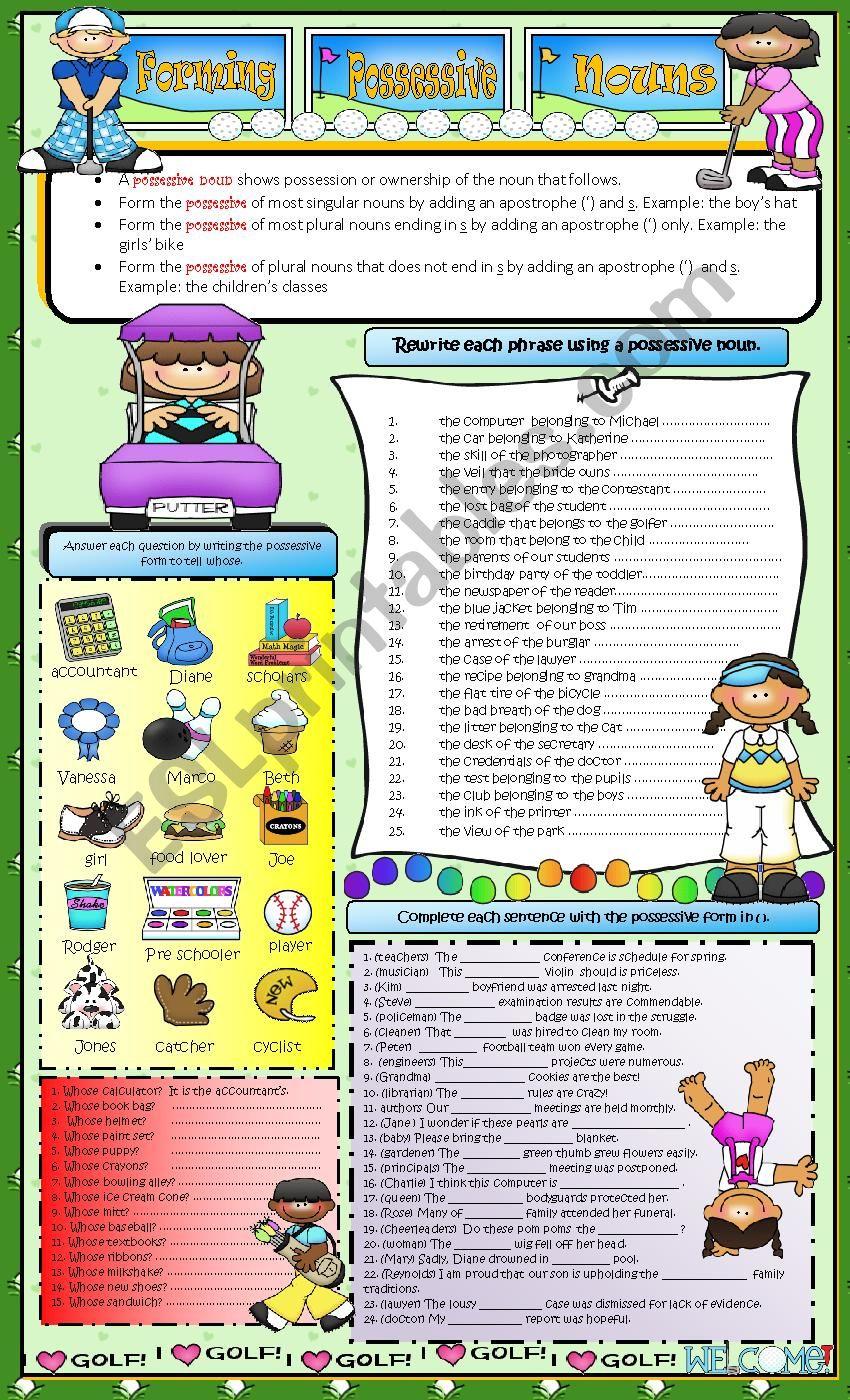 FORMING POSSESSIVES worksheet