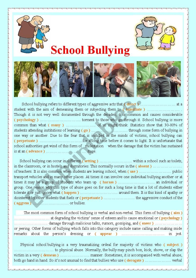 School Bullying   worksheet