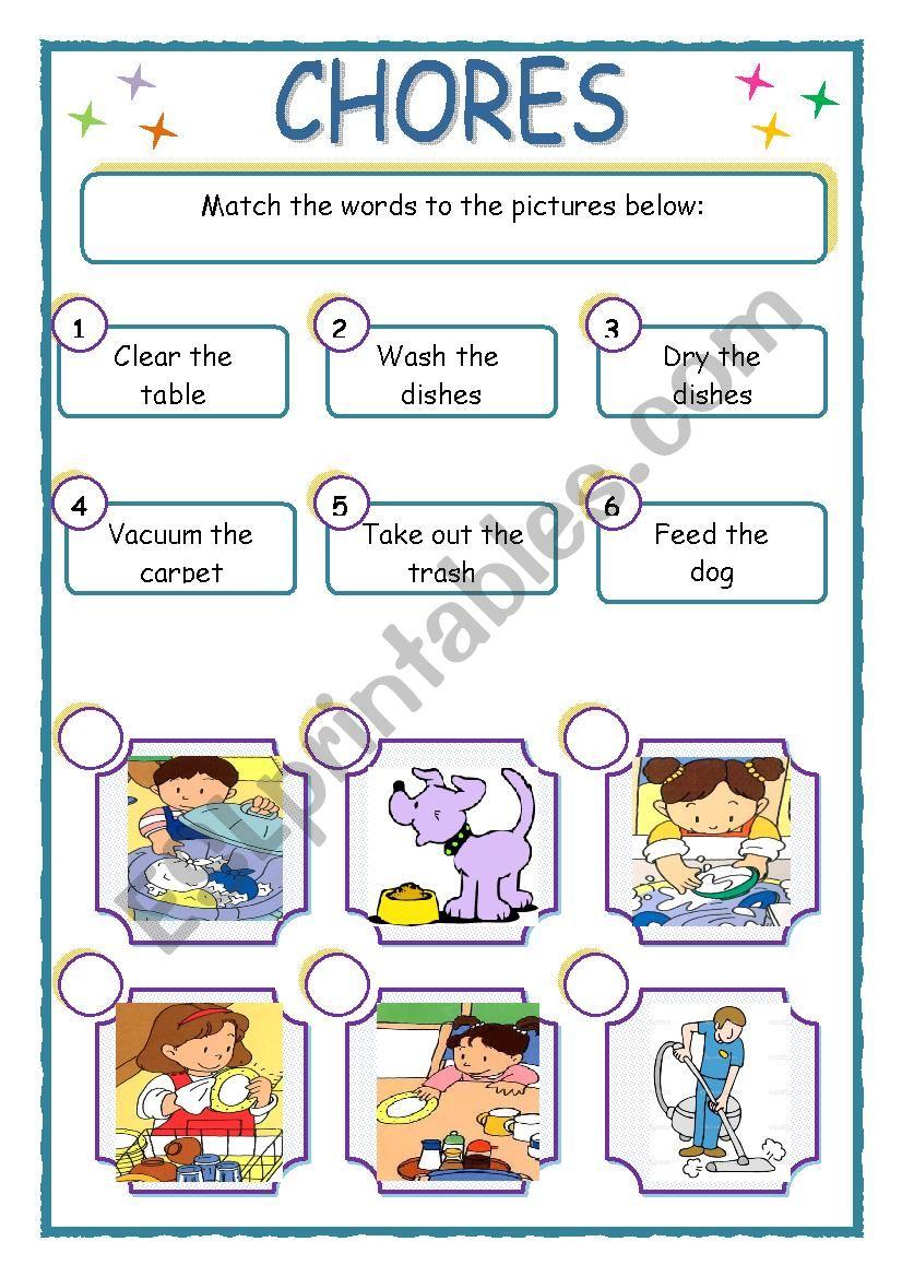 Chores Esl Worksheet By Lina Franchi