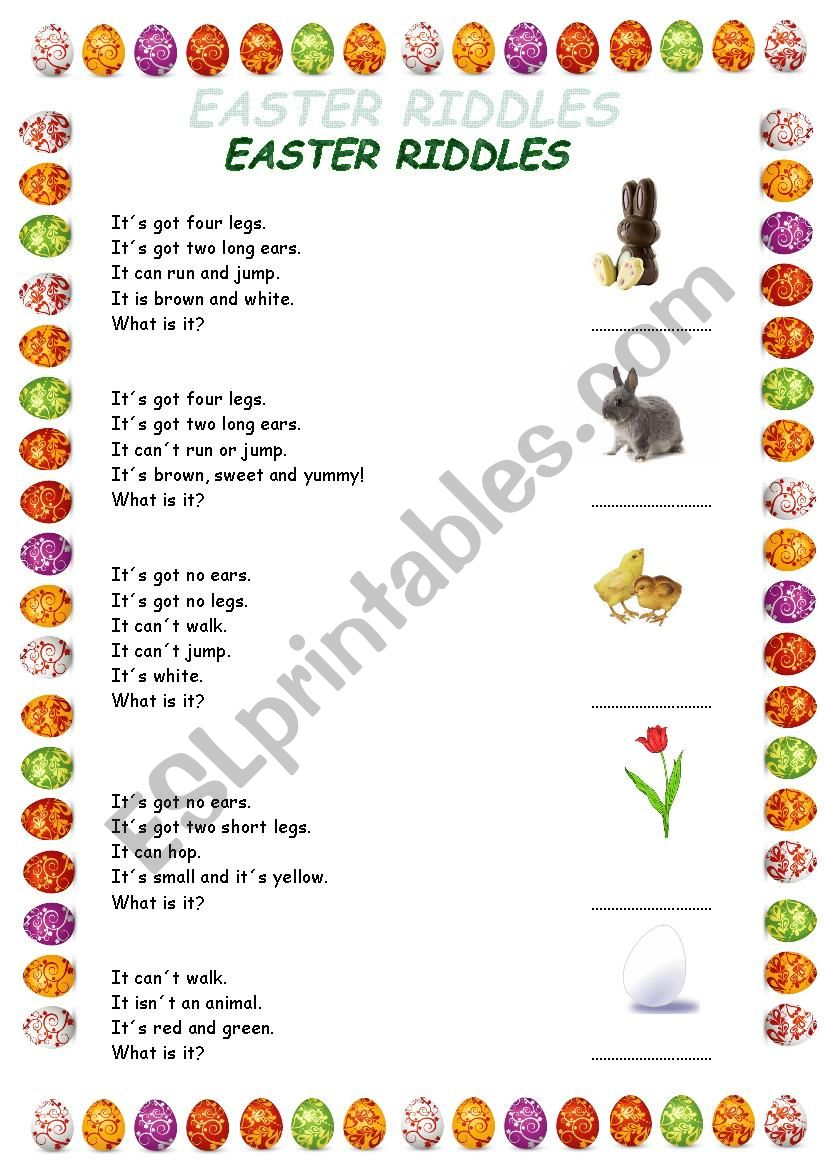 Easter riddles for very young learners