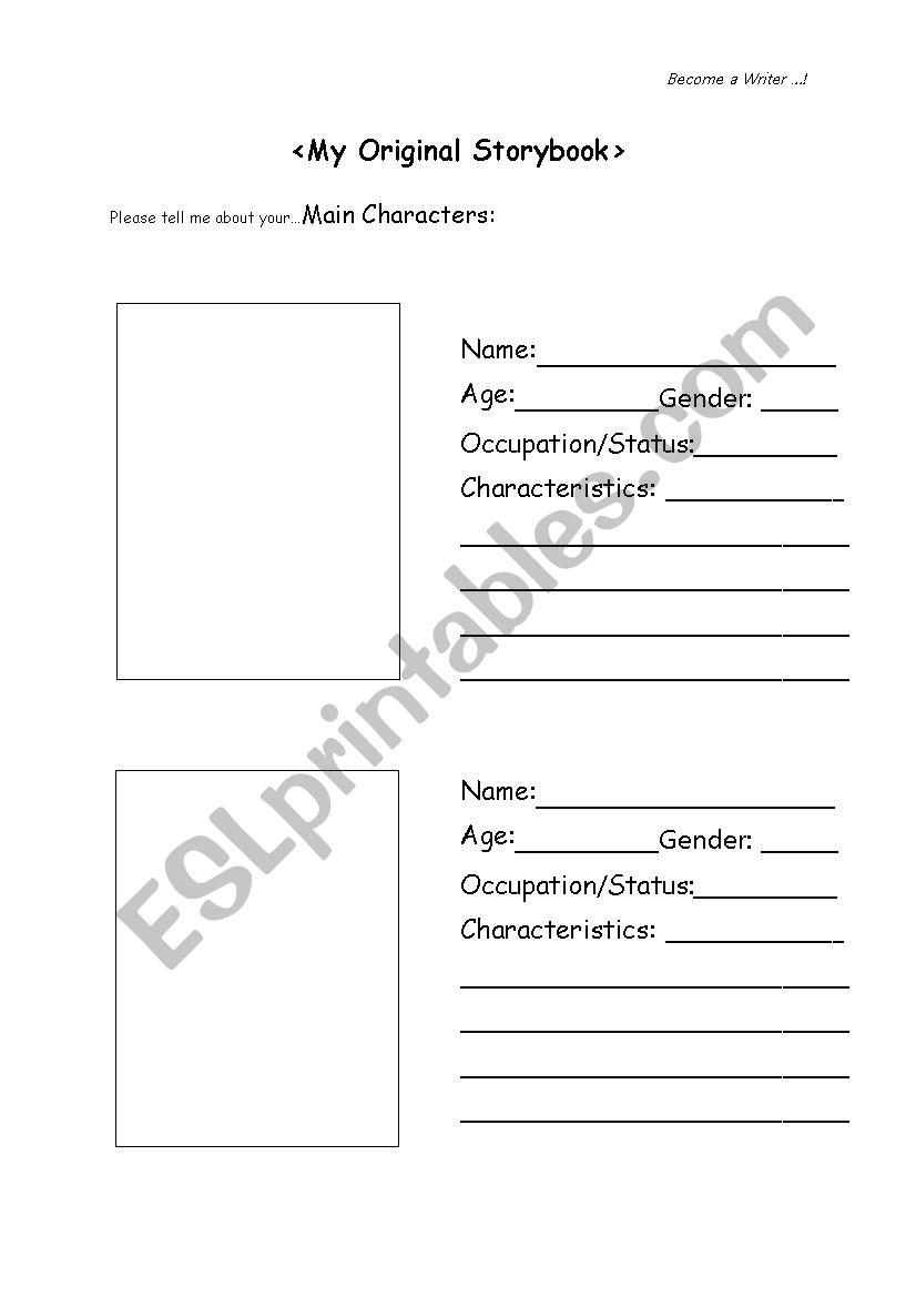 My Original Storybook worksheet
