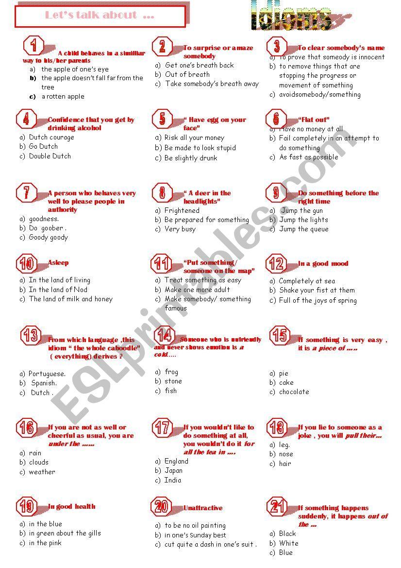 Quiz on Idiom worksheet