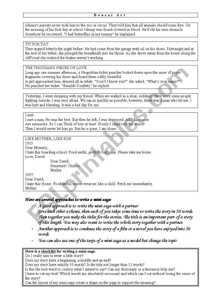 Examples of Mini-Sagas  worksheet