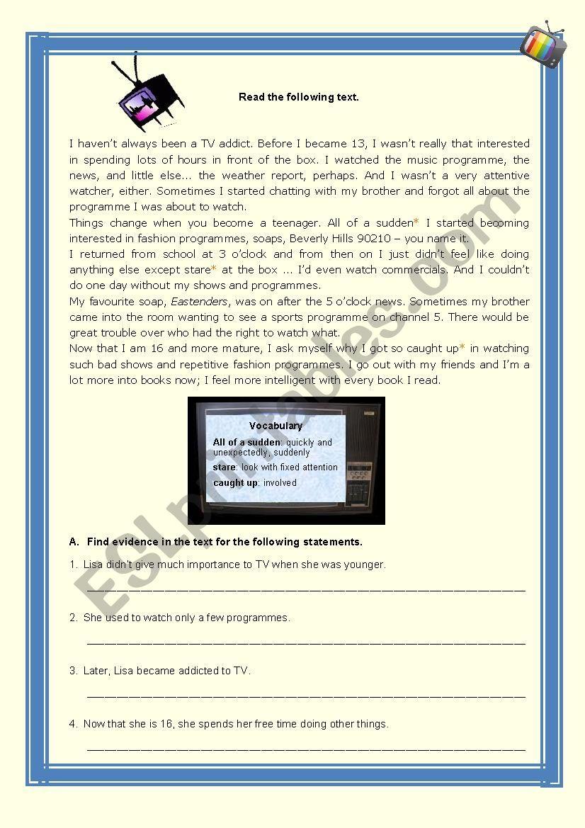 Television viewing habits worksheet