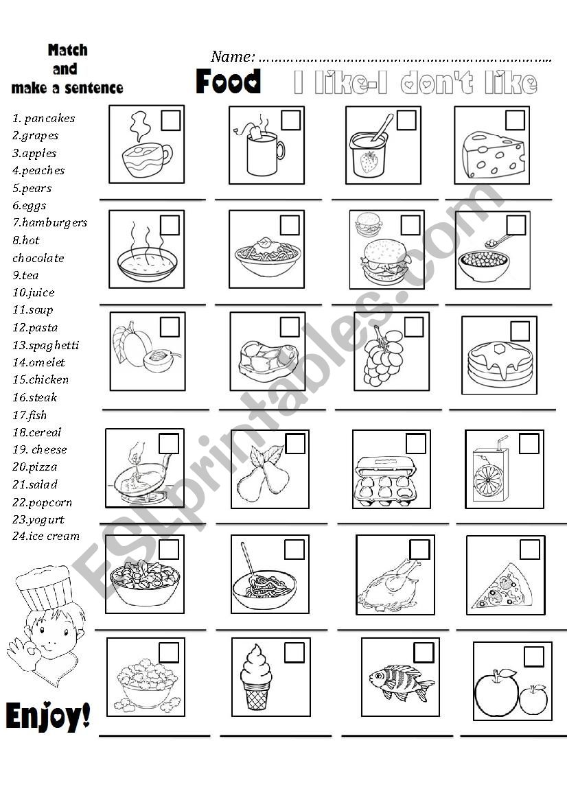 FOOD+I LIKE/I DON´T LIKE worksheet