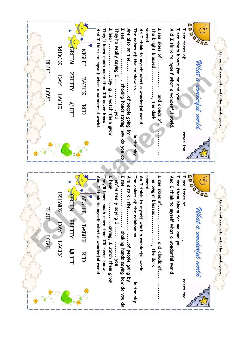 Song: What a wonderful world. worksheet