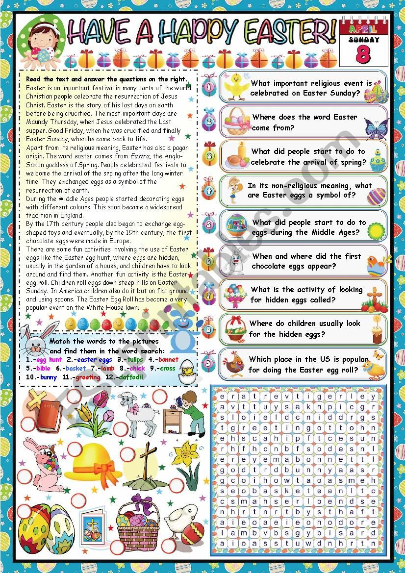 HAVE A HAPPY EASTER- READING AND COMPREHENSION+ WORDSEARCH