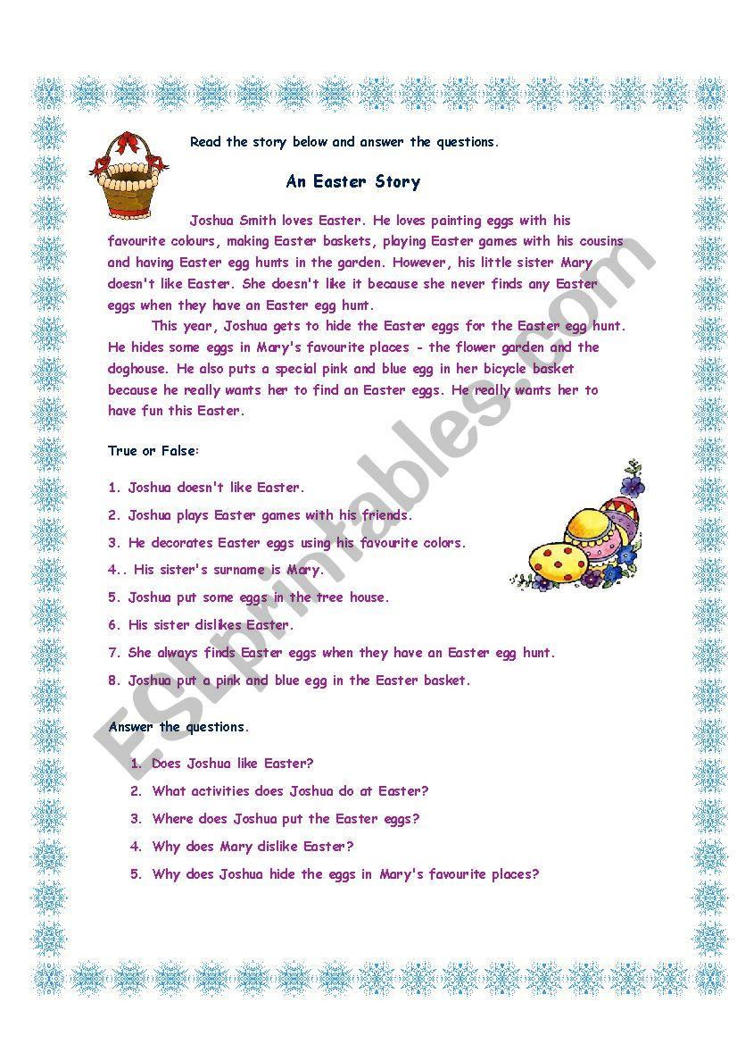 An Easter Story II worksheet