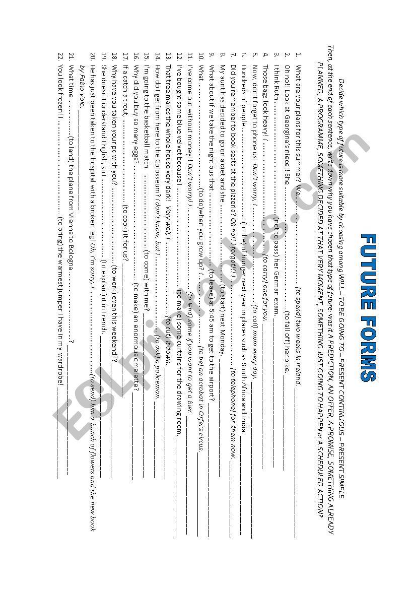 FUTURE FORMS worksheet
