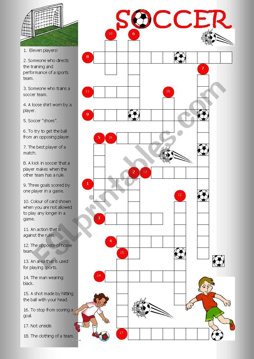 Crossword Soccer worksheet